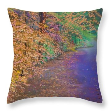 John's Pond In The Fall Throw Pillow
