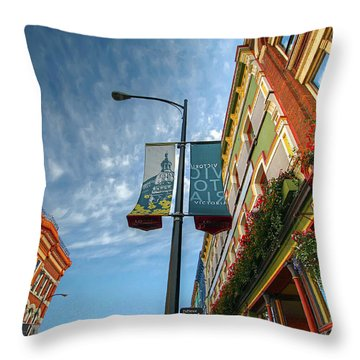 Johnson Street In Victoria B.c. Throw Pillow by David Gn