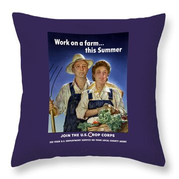 Join The U.s. Crop Corps Throw Pillow