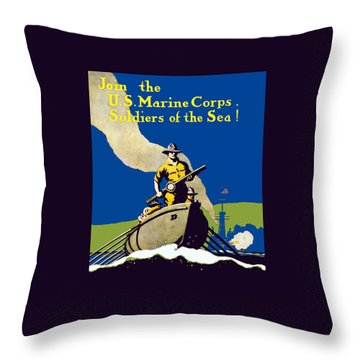 Join The Us Marines Corps Throw Pillow by War Is Hell Store