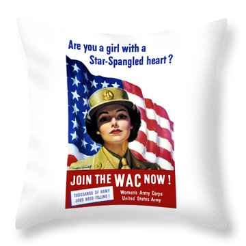 Join The Wac Now - World War Two Throw Pillow
