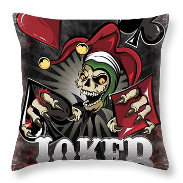 Joker Poker Skull Throw Pillow