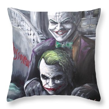 Jokery In Wayne Manor Throw Pillow by Tyler Haddox