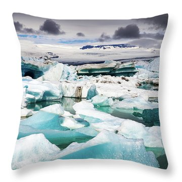 Throw Pillow featuring the photograph Jokulsarlon Glacier Lagoon Iceland With Icebergs by Matthias Hauser