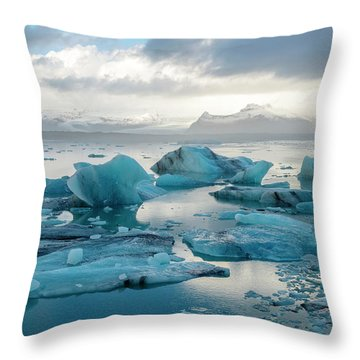 Jokulsarlon, The Glacier Lagoon, Iceland 6 Throw Pillow