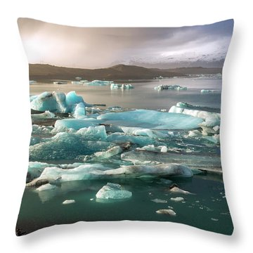 Jokulsarlon The Magnificent Glacier Lagoon, Iceland Throw Pillow