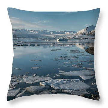 Throw Pillow featuring the photograph Jokulsarlon Ice Lagoon - Iceland by Sandra Bronstein