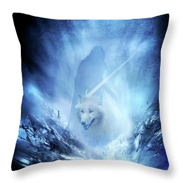 Jon Snow And Ghost - Game Of Thrones Throw Pillow by Lilia D