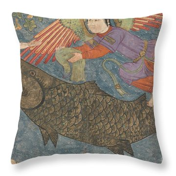 Jonah And The Whale Throw Pillow by Iranian School