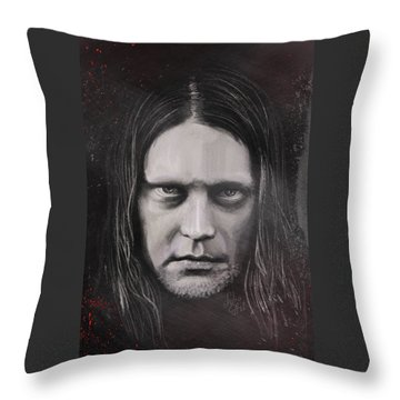 Throw Pillow featuring the drawing Jonas P Renkse Musician From Katatonia Band By Julia Art by Julia Art