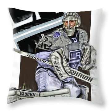 Jonathan Quick Los Angeles Kings Oil Art Throw Pillow