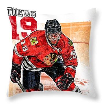 Jonathan Toews Throw Pillow by Maria Arango