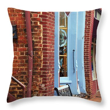 Jonesborough Tennessee Main Street Throw Pillow by Frank Romeo