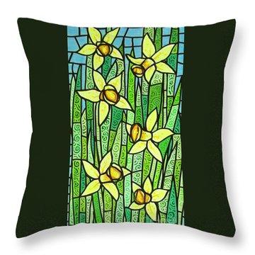 Throw Pillow featuring the painting Jonquil Glory by Jim Harris