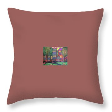 Throw Pillow featuring the drawing Jordan College West Drive Menominee by Jonathon Hansen