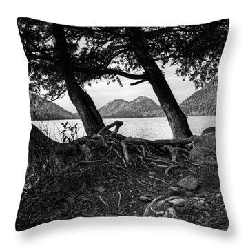 Jordan Pond - Acadia - Black And White Throw Pillow