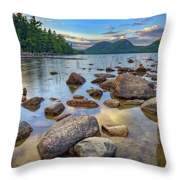 Jordan Pond And The Bubbles Throw Pillow