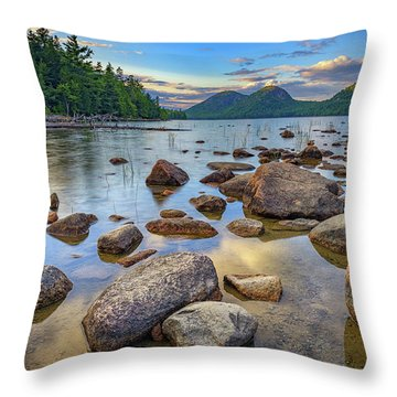 Jordan Pond And The Bubbles Throw Pillow by Rick Berk