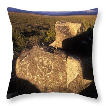 Jornada Mogollon Petroglyph Site Human Throw Pillow by Rich Reid