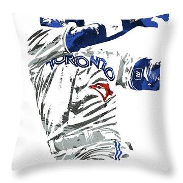 Throw Pillow featuring the mixed media Jose Bautista Toronto Blue Jays Pixel Art 2 by Joe Hamilton