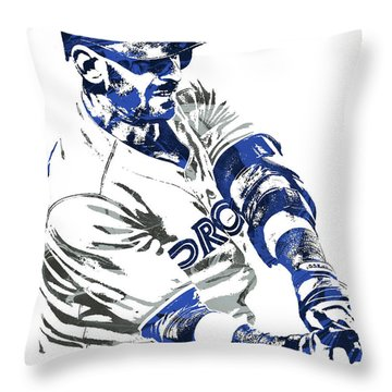 Throw Pillow featuring the mixed media Jose Bautista Toronto Blue Jays Pixel Art by Joe Hamilton