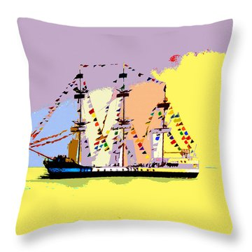 Throw Pillow featuring the painting Jose Gasparilla Sailing Colorful Tampa Bay by David Lee Thompson