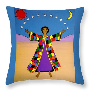 Joseph And His Coat Of Many Colours Throw Pillow by Stephanie Moore