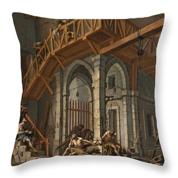 Throw Pillow featuring the painting Joseph Interprets The Dreams Of The Pharaoh's Servants Whilts In Jail by Alessandro Magnasco