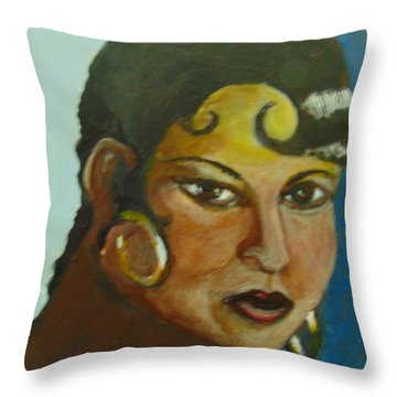 Throw Pillow featuring the painting Josephine Baker by Saundra Johnson