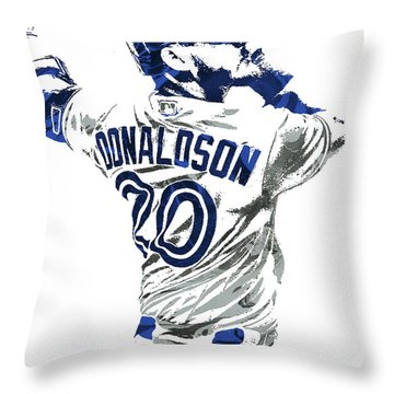 Throw Pillow featuring the mixed media Josh Donaldson Toronto Blue Jays Pixel Art by Joe Hamilton