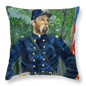 Joshua Chamberlain Throw Pillow by Bruce Schmalfuss