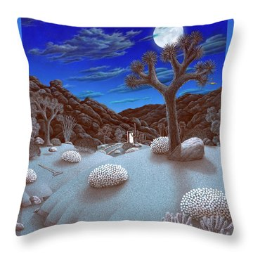 Joshua Tree At Night Throw Pillow by Snake Jagger