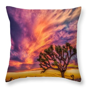 Joshua Tree In The Glowing Swirls Throw Pillow