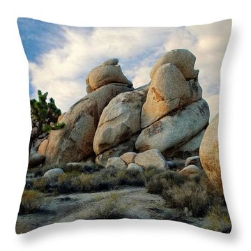 Joshua Tree Rock Formations At Dusk  Throw Pillow