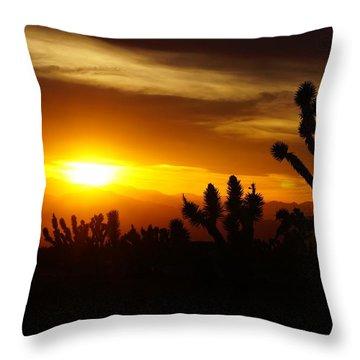 Joshua Tree Sunset In Nevada Throw Pillow