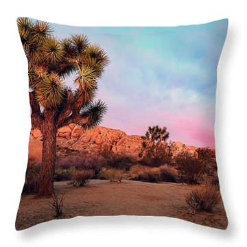 Joshua Tree With Dawn's Early Light Throw Pillow