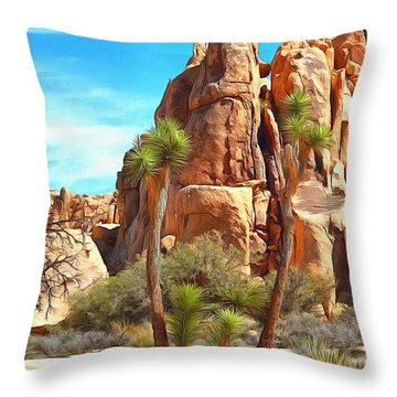 Joshua Trees And Rocks Throw Pillow