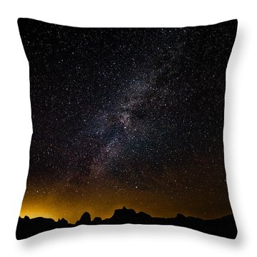 Throw Pillow featuring the photograph Joshua Tree's Fiery Sky by T Brian Jones