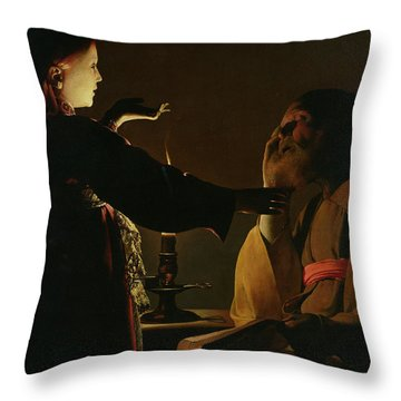 Jospeh And The Angel Throw Pillow by Georges de la Tour