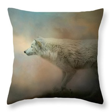 Journey Of The Timber Wolf Throw Pillow
