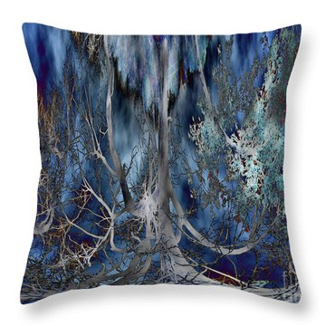Journey Of The Willow - Abstract Blue/silver Tree  Throw Pillow