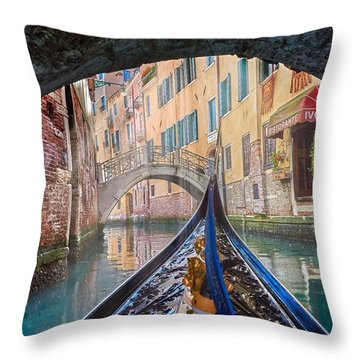 Journey Through Dreams - A Ride On The Canals Of Venice, Italy Throw Pillow