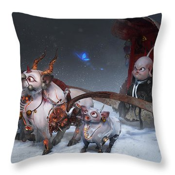 Throw Pillow featuring the digital art Journey To The West by Te Hu