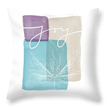 Joy Cannabis Leaf Watercolor- Art By Linda Woods Throw Pillow by Linda Woods