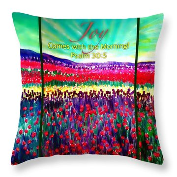 Joy Comes With The Morning Triptych  Throw Pillow