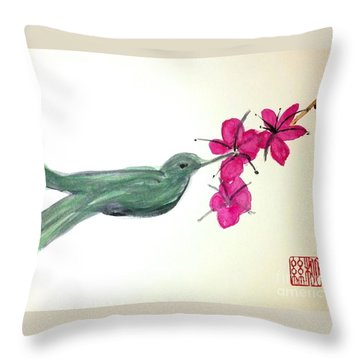 Joy Of Hummingbird Throw Pillow