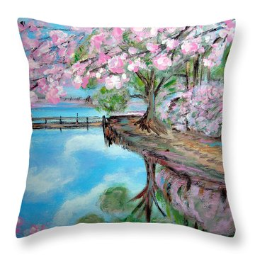 Joy Of Spring. Acrylic Painting For Sale Throw Pillow
