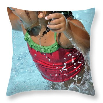 Joy Of Swimming Throw Pillow