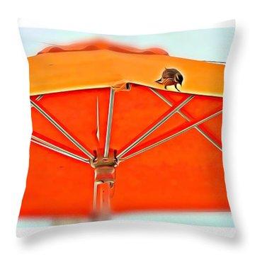 Throw Pillow featuring the digital art Joy On An Umbrella by Mindy Newman