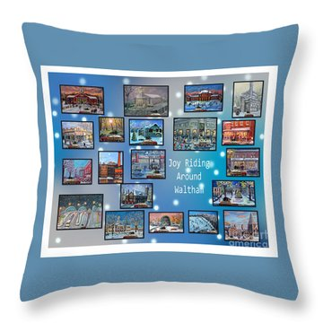 Joy Riding Around Waltham Throw Pillow